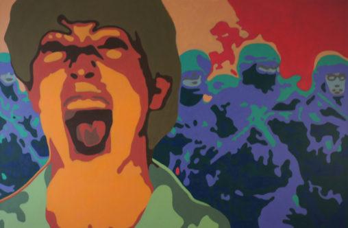 Schrei oder Camouflage. 120 x180 cm - Acryl auf Leinwand - 2014